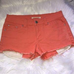 Forever 21 Coral Stretch Denim Cutoff Jean Shorts